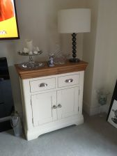 Farmhouse 80cm Cream Painted Small Oak Sideboard - Customer Photo