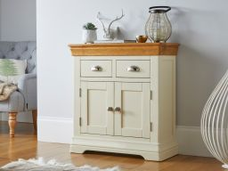 Farmhouse 80cm Cream Painted Small Oak Compact Sideboard