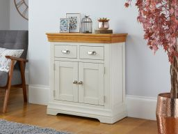 80cm Farmhouse Putty Grey Painted Small Oak Sideboard