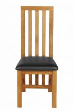 Dorchester Slatted Back Black Leather Oak Dining Chair