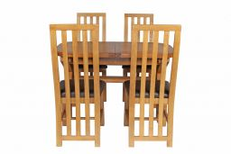 Country Oak 180cm Extending Cross Leg Oval Table & 4 Dorchester Brown Leather Ch