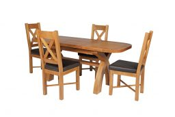 Country Oak 180cm Extending Cross Leg Oval Table & 4 Grasmere Brown Leather Chai