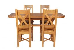 Country Oak 180cm Extending Cross Leg Oval Table & 4 Grasmere Timber Seat Chairs
