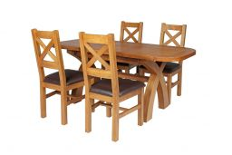 Country Oak 180cm Extending Cross Leg Oval Table & 4 Windermere Brown Leather Ch