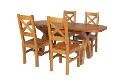 Country Oak 180cm Extending Cross Leg Oval Table & 4 Windermere Timber Seat Chai