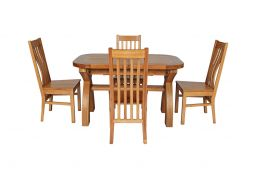 Country Oak 180cm Extending Cross Leg Oval Table & 4 Chelsea Timber Seat Chairs