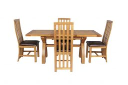 Country Oak 180cm Extending Cross Leg Square Table & 4 Dorchester Brown Leather