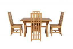 Country Oak 180cm Extending Cross Leg Square Table & 4 Dorchester Timber Seat Ch