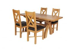 Country Oak 180cm Extending Cross Leg Square Table & 4 Grasmere Brown Leather Ch