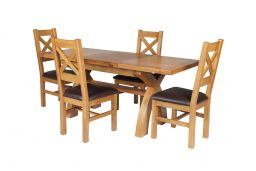 Country Oak 180cm Extending Cross Leg Square Table & 4 Windermere Brown Leather