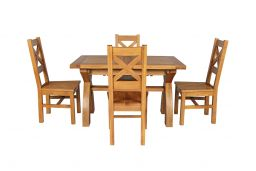 Country Oak 180cm Extending Cross Leg Square Table & 4 Windermere Timber Seat Ch