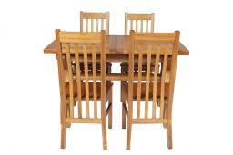 Country Oak 180cm Extending Cross Leg Square Table & 4 Chelsea Timber Seat Chair