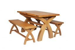 Country Oak 180cm Extending Cross Leg Square Table & 2 120cm Cross Leg Bench Set