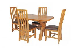 Country Oak 140cm Cross Leg Fixed Oval Table & 4 Dorchester Brown Leather Chairs