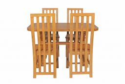 Country Oak 140cm Cross Leg Fixed Oval Table & 4 Dorchester Timber Seat Chairs