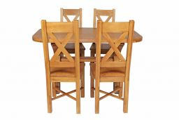 Country Oak 140cm Cross Leg Fixed Oval Table & 4 Grasmere Timber Seat Chairs