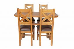 Country Oak 140cm Cross Leg Fixed Oval Table & 4 Windermere Brown Leather Chairs