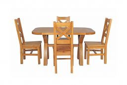 Country Oak 140cm Cross Leg Fixed Oval Table & 4 Windermere Timber Seat Chairs