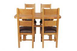 Country Oak 140cm Cross Leg Fixed Oval Table & 4 Chester Brown Leather Chairs