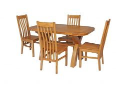 Country Oak 140cm Cross Leg Fixed Oval Table & 4 Chelsea Timber Seat Chairs