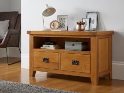Country Oak 2 Drawer TV Unit with shelf for living room