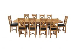 Country Oak 340cm Extending Cross Leg Oval Table & 10 Grasmere Brown Leather Cha