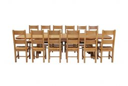 Country Oak 340cm Extending Cross Leg Oval Table & 12 Chester Timber Seat Chairs