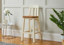 Billy Cream Painted Tall Kitchen Stool with Oak Seat