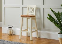 Billy Cross Back Cream Painted Tall Bar Stool with Oak Seat