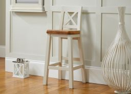 Billy Cross Back Grey Painted Bar Stool With Solid Oak Seat