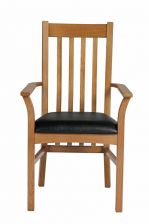 Chelsea Solid Oak Black Leather Carver Dining Chair