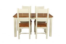 Country Oak 180cm Cream Painted Extending Dining Table & 4 Chester Ladder Back C