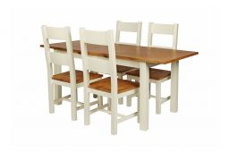 Country Oak 180cm Cream Painted Extending Dining Table and 4 Chester Ladder Back Cream Painted Chairs