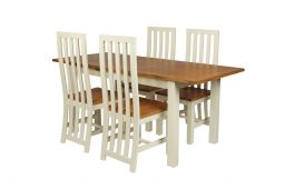 Country Oak 180cm Cream Painted Extending Dining Table and 4 Dorchester Cream Painted Chairs