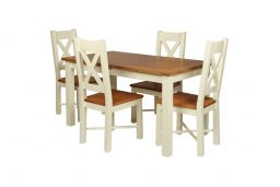 Country Oak 180cm Cream Painted Extending Dining Table & 4 Grasmere Cream Painte