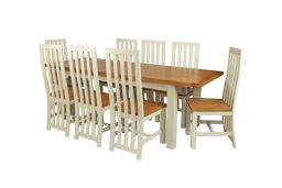 Country Oak 230cm Cream Painted Extending Dining Table & 8 ...