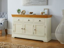 Farmhouse 140cm Cream Painted Large Oak Sideboard