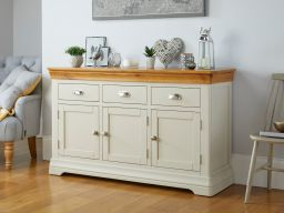 Farmhouse 140cm Putty Grey Painted Oak Sideboard