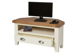 Country Oak Cream Painted Corner TV Unit With Drawer