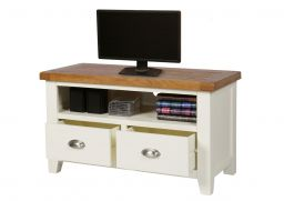 Country Oak Cream Painted 2 Drawer TV Unit