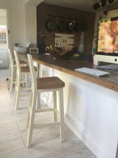 Billy Cream Painted Kitchen Stool - Oak Seat in a customers kitchen
