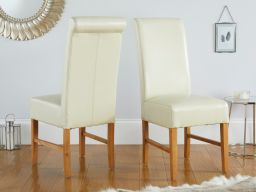 Emperor Cream Leather Scroll Back Dining Chairs with Solid Oak Legs