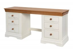 Farmhouse Country Cream Painted Large Double Pedestal Dressing Table / Desk