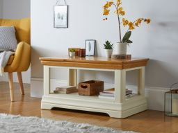 Farmhouse Cream Painted Oak Coffee Table with Shelf