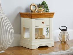 Farmhouse Country Cream Painted 1 Drawer Bedside Table