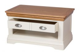 Farmhouse Cream Painted Oak Coffee Table with Drawers