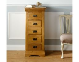 Farmhouse Country Oak 5 Drawer Tallboy Narrow Chest of Drawers