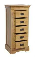 French Farmhouse Country Oak 5 Drawer Tallboy Chest of Drawers