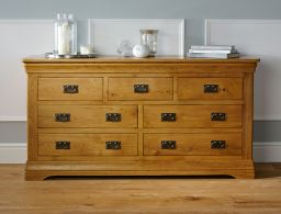 Farmhouse Country Oak 3 Over 4 Large Chest of Drawers
