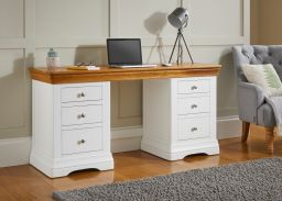 Farmhouse Country White Painted Double Pedestal Large Home Office Desk
